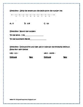 Decimal Review Worksheet - Place Value, Adding, Subtracting & Estimating