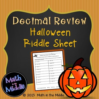 Decimal Review (all operations) Halloween Riddle Sheet