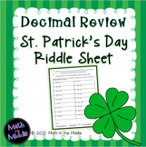 Decimal Review (all operations) St. Patrick's Day Riddle Sheet