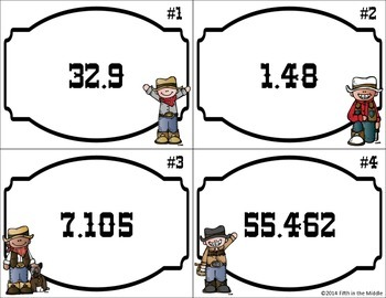 Decimal Round-Up Decimal Rounding Task Card and Game for Upper Elementary