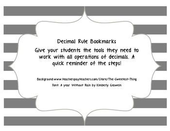 Decimal Rule Bookmarks