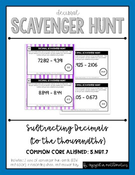 Decimal Scavenger Hunt Set #2: Subtracting Decimals (5.NBT.B.7)