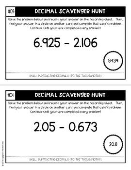 Decimal Scavenger Hunt Set #2: Subtracting Decimals (5.NBT.B.7)