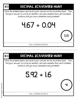 Decimal Scavenger Hunt Set #4: Dividing Decimals (5.NBT.B.7)