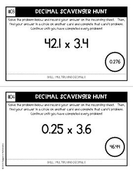 Decimal Scavenger Hunt Set #3: Multiplying Decimals (5.NBT.B.7)