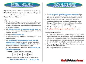 Decimal Scrabble (Fun Decimal Game)