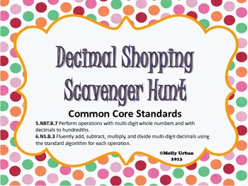 Decimal Shopping Scavenger Hunt. Word Problems with CCStandards