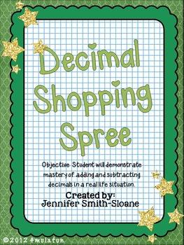 Decimal Shopping Spree Foldable Mini Book Activity