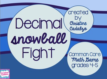 Decimal Snowball Fight Math Game - Comparing Decimals