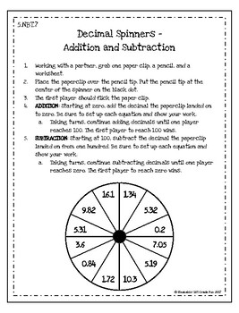 Decimal Spinners - Addition and Subtraction Activity
