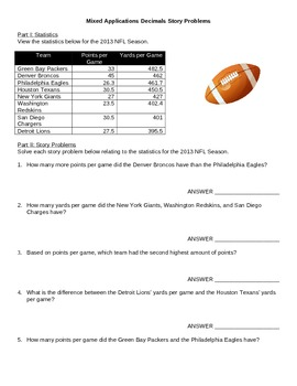 Football Theme Decimal Story Problems