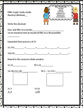 Decimal Study Guide - Review Common Core concepts