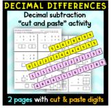 Decimal Subtraction Cut and Paste Activity
