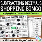 Decimal Subtraction Math Activity: Subtracting Decimals Shopping Bingo