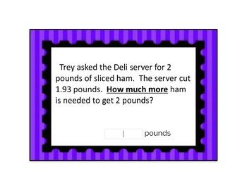 Decimal Subtraction {Modified} Word Problem Boom Card Deck