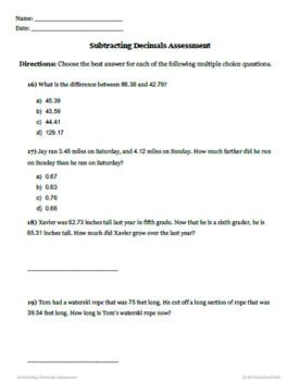 Decimal Subtraction Quiz