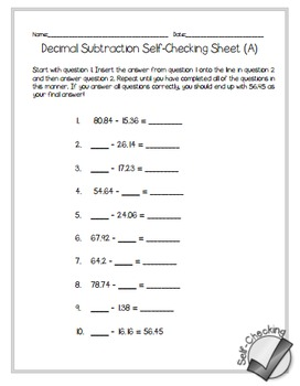 Decimal Subtraction Self-Checking Worksheets - Differentiated