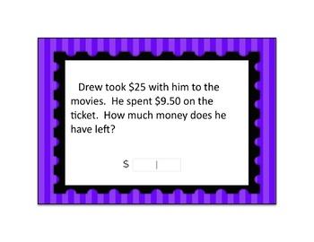 Decimal Subtraction Word Problem Digital Boom Card Deck