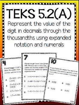 Decimal TEKS 5.2A 5.2B 5.2C Bundle!!!