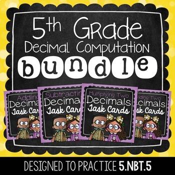 Decimal Task Card Bundle   5th Grade