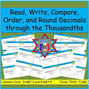 Decimal Task Cards