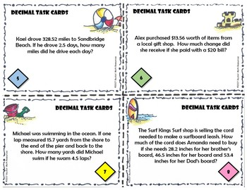 Decimal Task Cards - 12 word problem task cards covering all operations