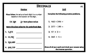 Decimal Task Cards (5x8 Notecards)