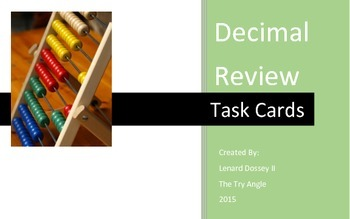 Decimal Task Cards (5x8 Notecards)