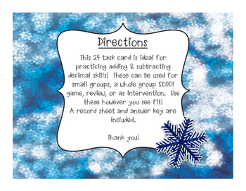 Decimal Task Cards: Adding and Subtracting
