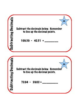 Decimal Task Cards --Adding and Subtracting Decimals to the Hundredths Place