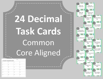 Decimal Task Cards Aligned with Math Common Core Standards