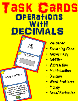Decimal Task Cards - All Operations