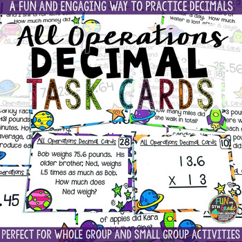 Decimals All Operation Task Cards & Game