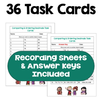 Comparing and Ordering Decimals Task Cards (3 Levels)