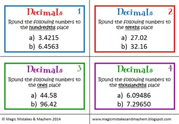 Decimal Task Cards- Comparing and Rounding Decimals to the Thousandths