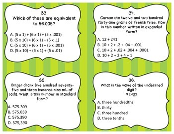Decimal Task Cards: Decimals to the Thousandths