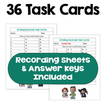 Dividing Decimals Task Cards (Differentiated with 3 Levels)