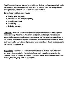 Decimal Task Cards (Half Page)