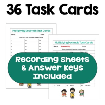 Multiplying Decimals Task Cards (Differentiated with 3 Levels)