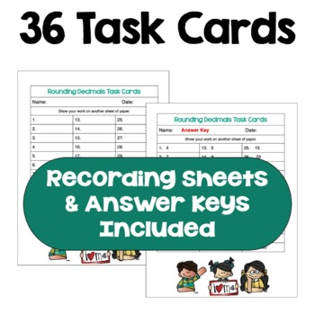 Rounding Decimals Task Cards (Differentiated with 3 Levels)