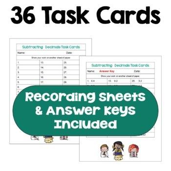 Subtracting Decimals Task Cards (3 Levels)