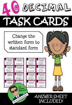 Decimal Task Cards - Written to Standard Form