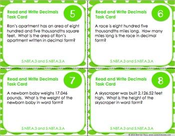 5th Grade Decimals Activity: 5th Grade Decimals Task Cards (5.NBT.3)