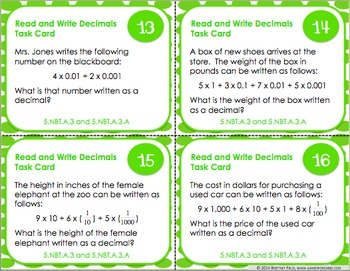 5th Grade Decimals Task Cards {5.NBT.3}