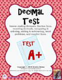 Decimal Test - Tenths, Hundredths, Thousandths