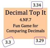 4.NF.7, Decimal Top It Game, compare decimals