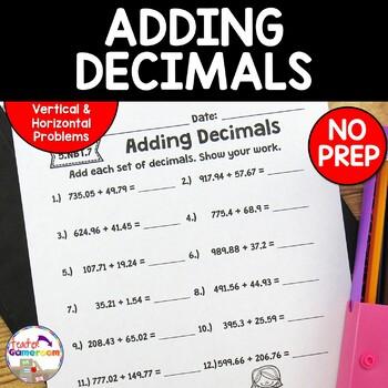 Decimal Unit - Adding Decimals Worksheets - 5.NBT.7