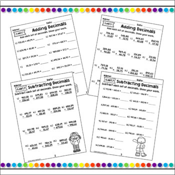 Decimal Unit - Basic Operations Worksheet Bundle - 5.NBT.7
