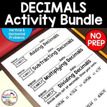 decimal unit basic operations worksheet bundle 5 nbt 7 by teacher gameroom. Black Bedroom Furniture Sets. Home Design Ideas
