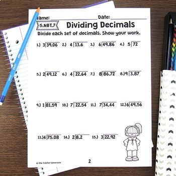 Decimal Unit - Dividing Decimals Worksheets - 5.NBT.7